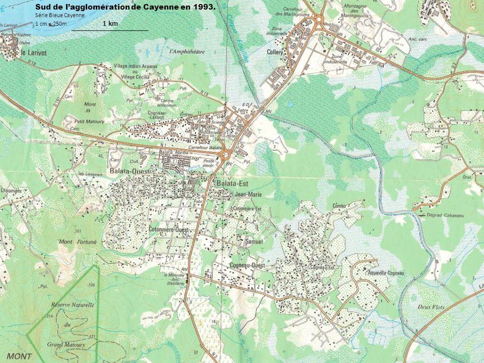 Sud de lagglomération de Cayenne en 1993. Série Bleue Cayenne 1 cm = 250m 1 km