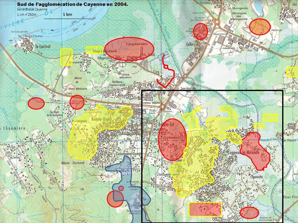 Sud de lagglomération de Cayenne en 2004. Série Bleue Cayenne 1 cm = 250m 1 km