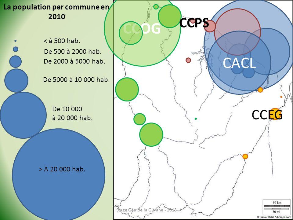 CCOG Stage Géo de la Guyane - 2013 La population par commune en 2010 < à 500 hab.