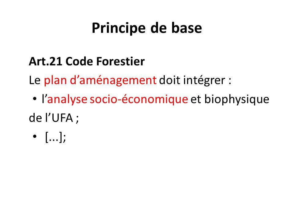 Art.21 Code Forestier Le plan daménagement doit intégrer : lanalyse socio-économique et biophysique de lUFA ; [...]; Principe de base