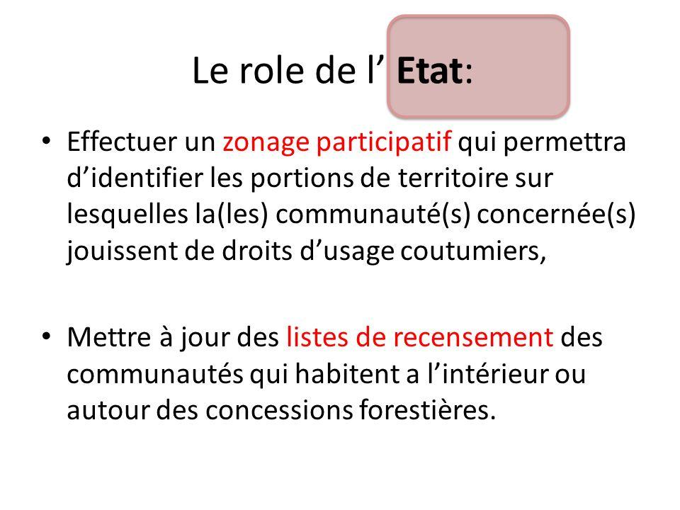 Effectuer un zonage participatif qui permettra didentifier les portions de territoire sur lesquelles la(les) communauté(s) concernée(s) jouissent de d