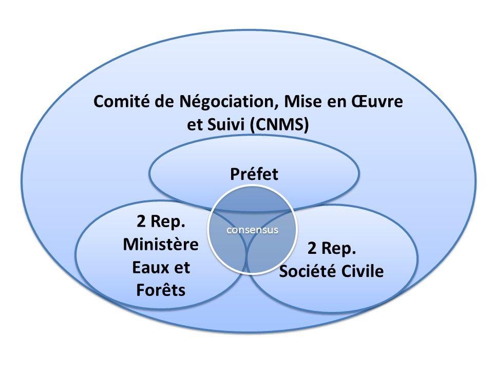 Comité de Négociation, Mise en Œuvre et Suivi (CNMS) 2 Rep. Ministère Eaux et Forêts 2 Rep. Société Civile Préfet consensus