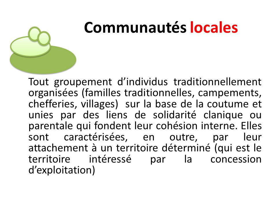 Tout groupement dindividus traditionnellement organisées (familles traditionnelles, campements, chefferies, villages) sur la base de la coutume et uni