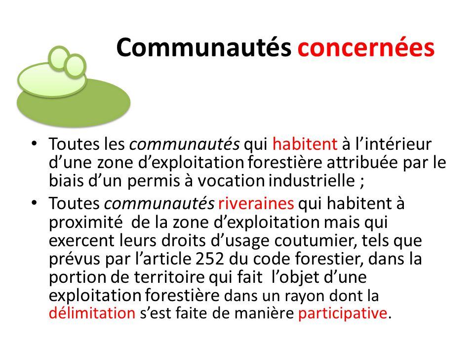 Toutes les communautés qui habitent à lintérieur dune zone dexploitation forestière attribuée par le biais dun permis à vocation industrielle ; Toutes