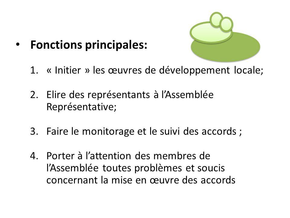 Fonctions principales: 1.« Initier » les œuvres de développement locale; 2.Elire des représentants à lAssemblée Représentative; 3.Faire le monitorage