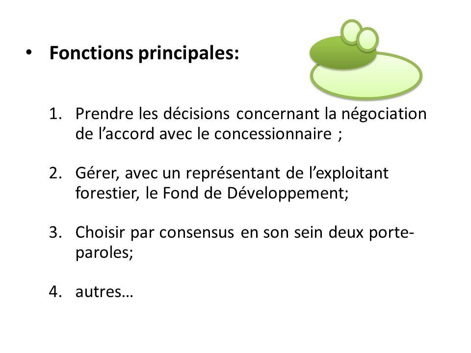 Fonctions principales: 1.Prendre les décisions concernant la négociation de laccord avec le concessionnaire ; 2.Gérer, avec un représentant de lexploi
