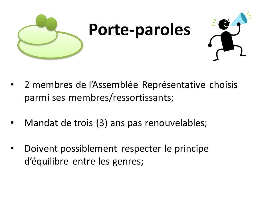 Porte-paroles 2 membres de lAssemblée Représentative choisis parmi ses membres/ressortissants; Mandat de trois (3) ans pas renouvelables; Doivent poss
