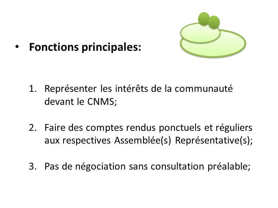 Fonctions principales: 1.Représenter les intérêts de la communauté devant le CNMS; 2.Faire des comptes rendus ponctuels et réguliers aux respectives A