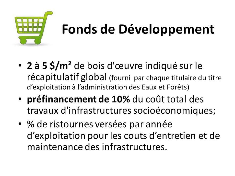 Fonds de Développement 2 à 5 $/m² de bois d'œuvre indiqué sur le récapitulatif global (fourni par chaque titulaire du titre dexploitation à ladministr