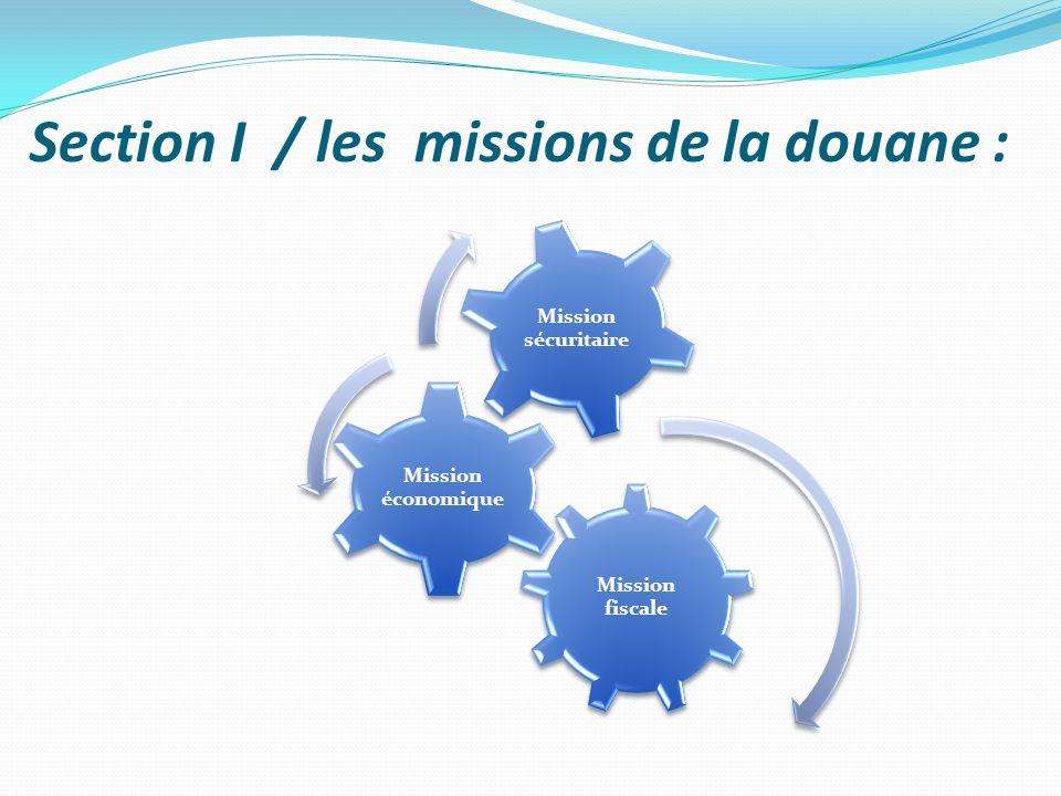 Section I / les missions de la douane : Mission fiscale Mission économique Mission sécuritaire