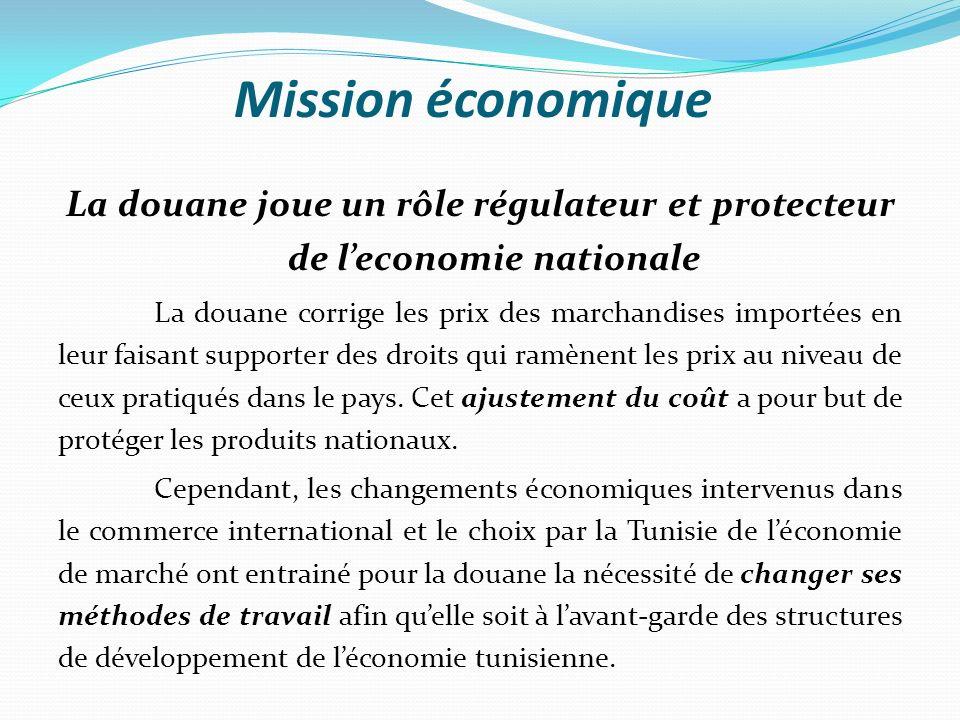 Mission économique A cet effet, ladministration agit constamment en vue de faciliter les procédures à limport et à lexport, de créer des régimes douaniers évolués et de renforcer la compétitivité des produits dorigine tunisienne.