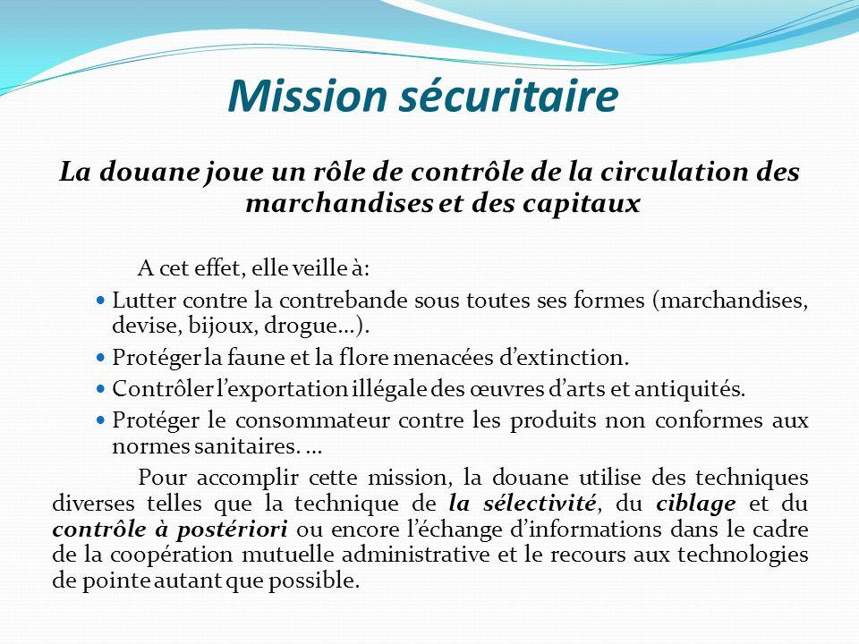 Mission sécuritaire La douane joue un rôle de contrôle de la circulation des marchandises et des capitaux A cet effet, elle veille à: Lutter contre la contrebande sous toutes ses formes (marchandises, devise, bijoux, drogue…).