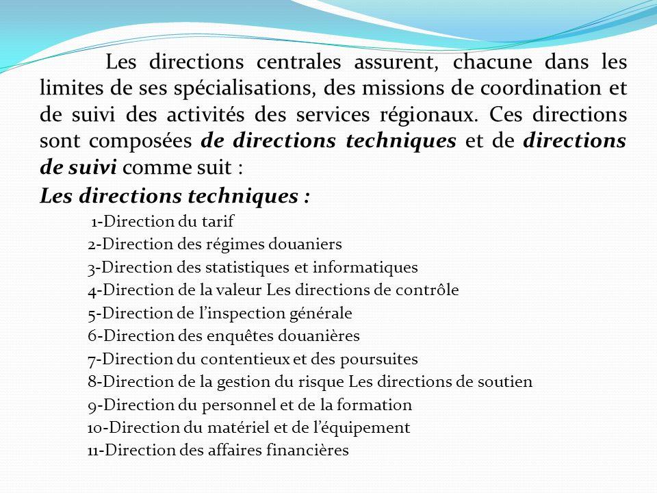 Les services régionaux des douanes comprennent les directions régionales et les bureaux des douanes.