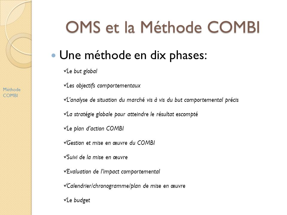 OMS et la Méthode COMBI Une méthode en dix phases: Méthode COMBI Le but global Les objectifs comportementaux Lanalyse de situation du marché vis à vis