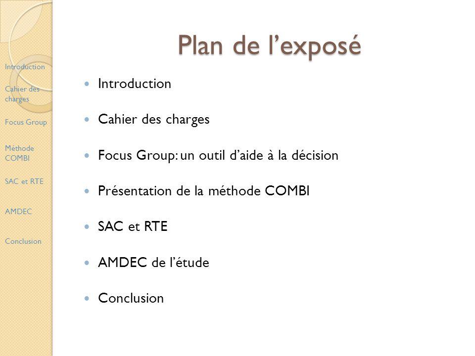 Plan de lexposé Introduction Cahier des charges Focus Group: un outil daide à la décision Présentation de la méthode COMBI SAC et RTE AMDEC de létude