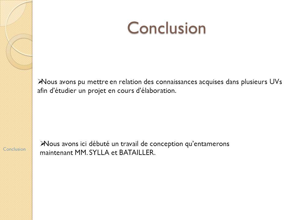 Conclusion Conclusion Nous avons pu mettre en relation des connaissances acquises dans plusieurs UVs afin détudier un projet en cours délaboration. No