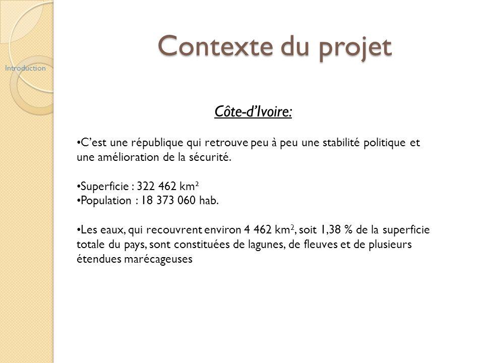 Contexte du projet Introduction Côte-dIvoire: Cest une république qui retrouve peu à peu une stabilité politique et une amélioration de la sécurité. S