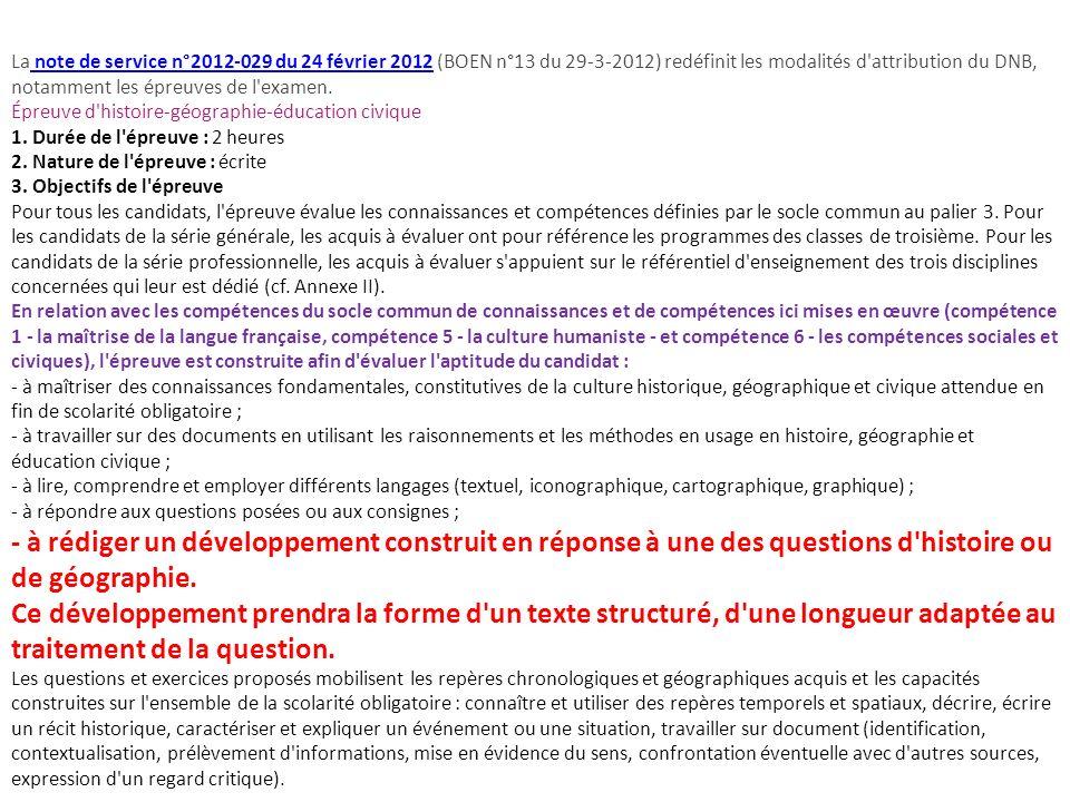 La note de service n°2012-029 du 24 février 2012 (BOEN n°13 du 29-3-2012) redéfinit les modalités d attribution du DNB, notamment les épreuves de l examen.