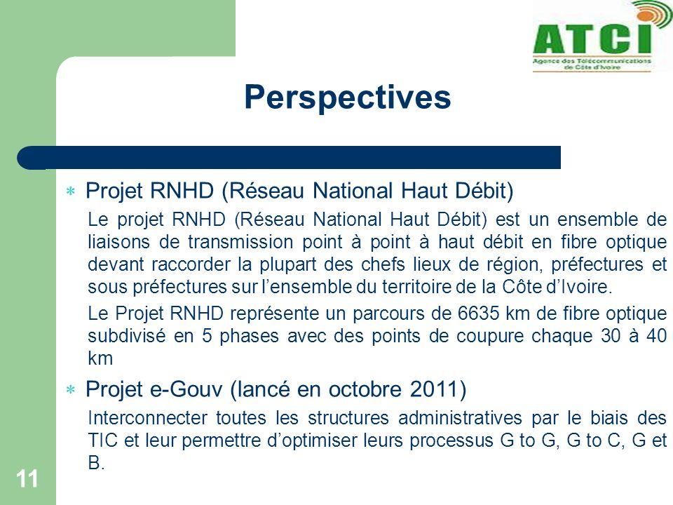 Perspectives 11 Projet RNHD (Réseau National Haut Débit) Le projet RNHD (Réseau National Haut Débit) est un ensemble de liaisons de transmission point à point à haut débit en fibre optique devant raccorder la plupart des chefs lieux de région, préfectures et sous préfectures sur lensemble du territoire de la Côte dIvoire.