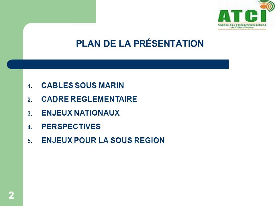 2 PLAN DE LA PRÉSENTATION 1. CABLES SOUS MARIN 2. CADRE REGLEMENTAIRE 3. ENJEUX NATIONAUX 4. PERSPECTIVES 5. ENJEUX POUR LA SOUS REGION