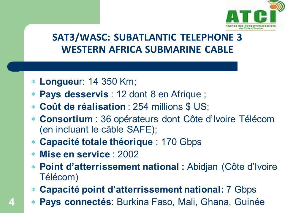 SAT3/WASC: SUBATLANTIC TELEPHONE 3 WESTERN AFRICA SUBMARINE CABLE 4 Longueur: 14 350 Km; Pays desservis : 12 dont 8 en Afrique ; Coût de réalisation : 254 millions $ US; Consortium : 36 opérateurs dont Côte dIvoire Télécom (en incluant le câble SAFE); Capacité totale théorique : 170 Gbps Mise en service : 2002 Point datterrissement national : Abidjan (Côte dIvoire Télécom) Capacité point datterrissement national: 7 Gbps Pays connectés: Burkina Faso, Mali, Ghana, Guinée