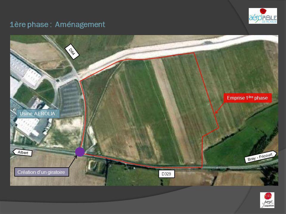1ère phase : Aménagement Albert Bray - Fricourt D329 D64 Emprise 1 ère phase Création dun giratoire Usine AEROLIA