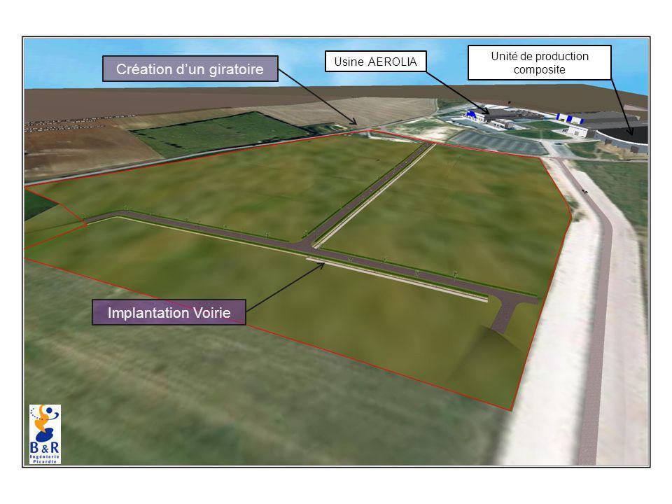 Implantation Voirie Création dun giratoire Usine AEROLIA Unité de production composite