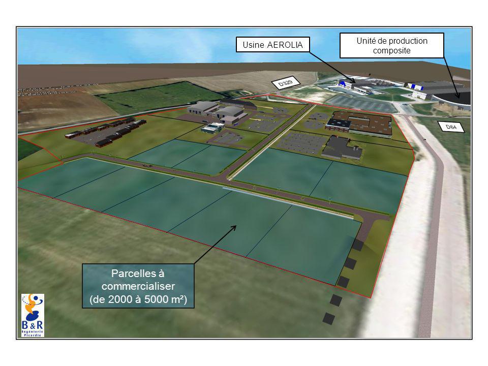 Parcelles à commercialiser (de 2000 à 5000 m²) Usine AEROLIA Unité de production composite