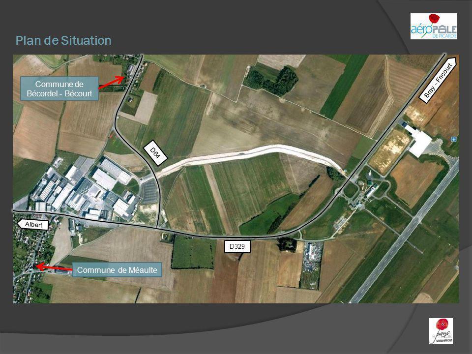 Plan de Situation Commune de Bécordel - Bécourt Commune de Méaulte Bray - Fricourt Albert D329 D64