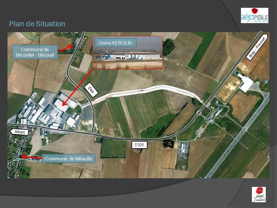 Plan de Situation Usine AEROLIA Commune de Bécordel - Bécourt Commune de Méaulte Bray - Fricourt Albert D329 D64