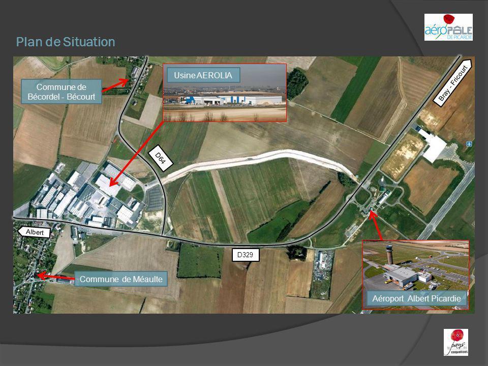 Plan de Situation Aéroport Albert Picardie Commune de Bécordel - Bécourt Commune de Méaulte Bray - Fricourt Albert D329 D64 Usine AEROLIA