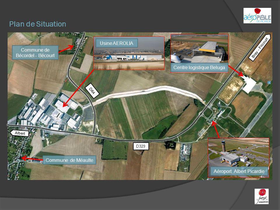 Plan de Situation Aéroport Albert Picardie Centre logistique Beluga Commune de Bécordel - Bécourt Commune de Méaulte Bray - Fricourt Albert D329 D64 U