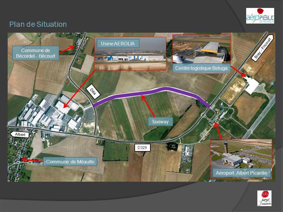 Plan de Situation Aéroport Albert Picardie Centre logistique Beluga Taxiway Commune de Bécordel - Bécourt Commune de Méaulte Bray - Fricourt Albert D3
