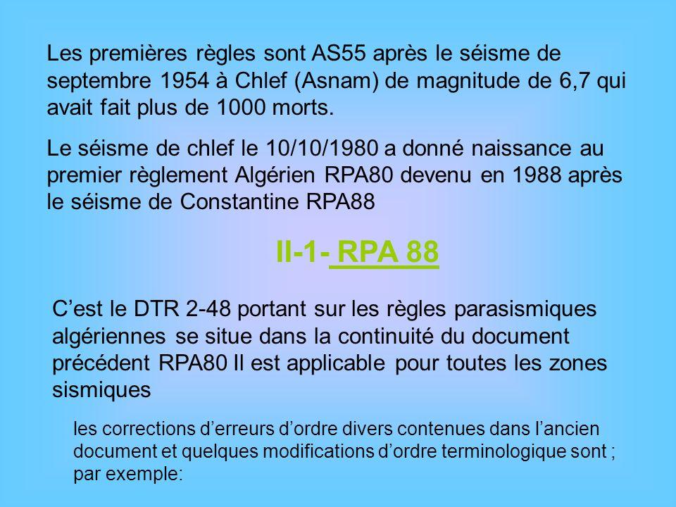 Les premières règles sont AS55 après le séisme de septembre 1954 à Chlef (Asnam) de magnitude de 6,7 qui avait fait plus de 1000 morts. Le séisme de c