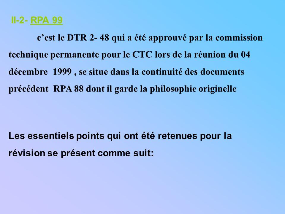 II-2- RPA 99 cest le DTR 2- 48 qui a été approuvé par la commission technique permanente pour le CTC lors de la réunion du 04 décembre 1999, se situe