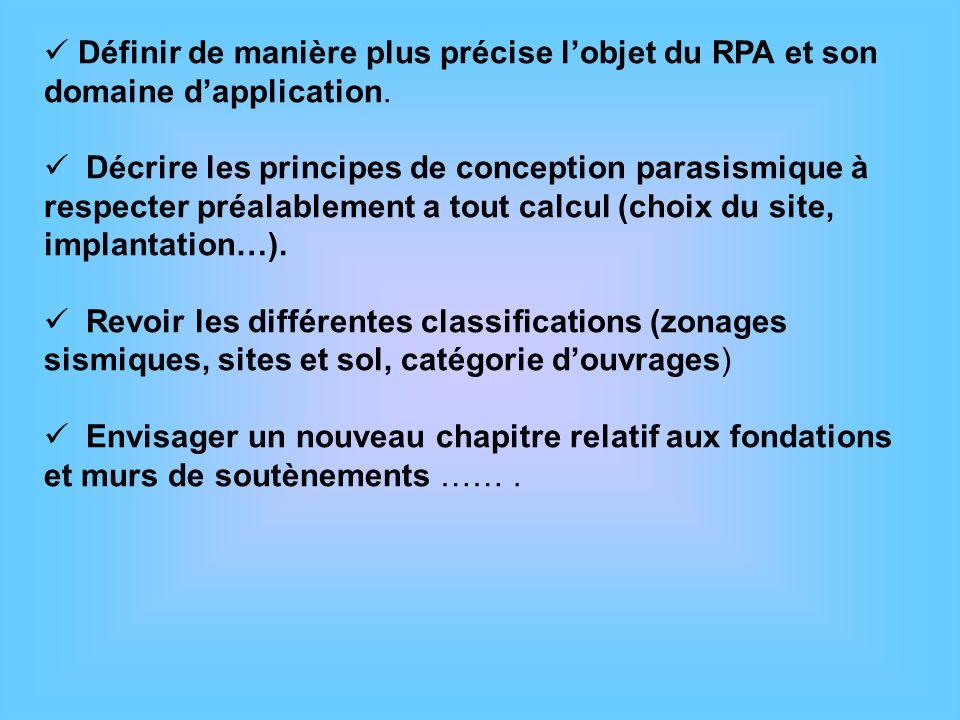 Définir de manière plus précise lobjet du RPA et son domaine dapplication. Décrire les principes de conception parasismique à respecter préalablement