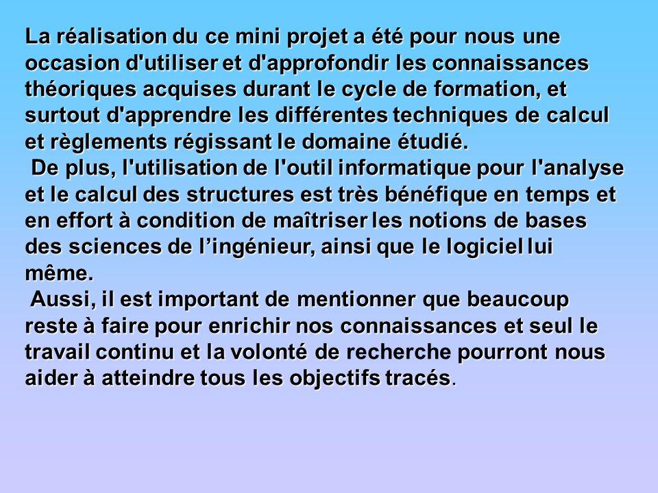 La réalisation du ce mini projet a été pour nous une occasion d'utiliser et d'approfondir les connaissances théoriques acquises durant le cycle de for