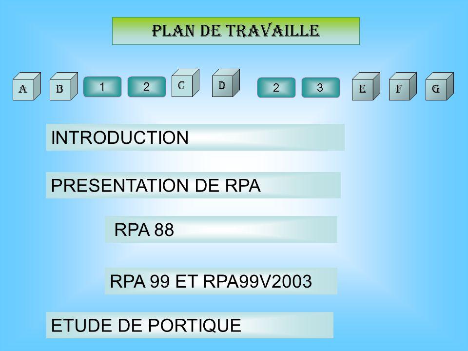 Plan de travaille BA C 23 F 21 D EG INTRODUCTION PRESENTATION DE RPA RPA 88 RPA 99 ET RPA99V2003 ETUDE DE PORTIQUE