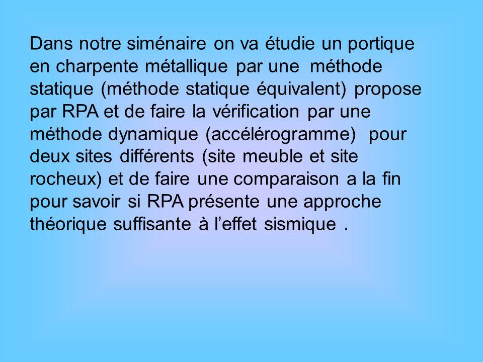 Dans notre siménaire on va étudie un portique en charpente métallique par une méthode statique (méthode statique équivalent) propose par RPA et de fai