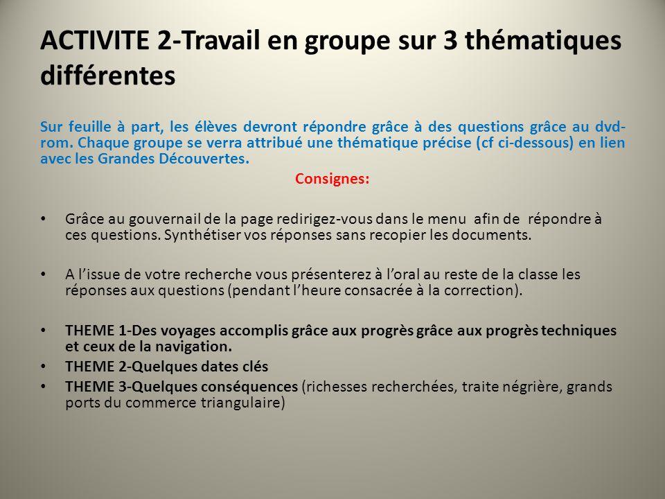 ACTIVITE 2-Travail en groupe sur 3 thématiques différentes Sur feuille à part, les élèves devront répondre grâce à des questions grâce au dvd- rom.