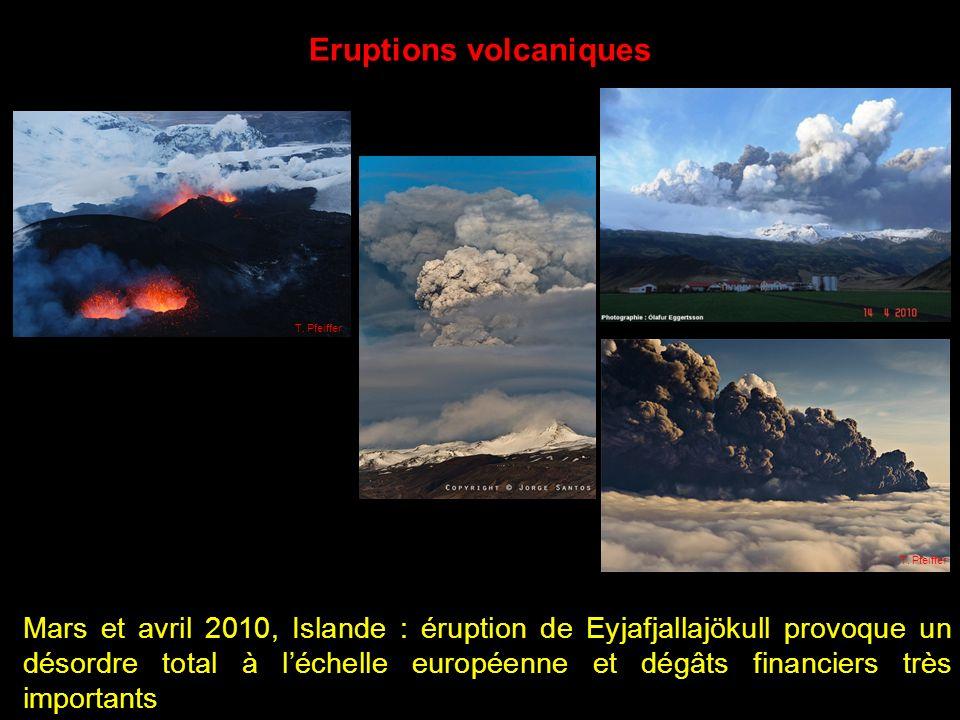 Mars et avril 2010, Islande : éruption de Eyjafjallajökull provoque un désordre total à léchelle européenne et dégâts financiers très importants T.