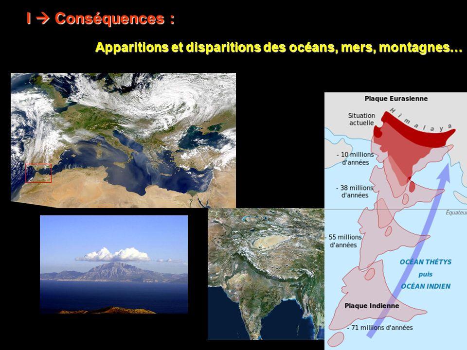 Apparitions et disparitions des océans, mers, montagnes… I Conséquences :