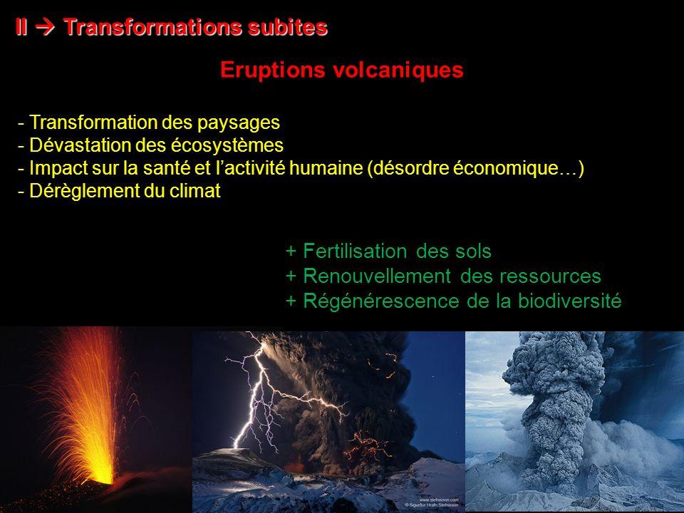 Eruptions volcaniques II Transformations subites Nasa - Transformation des paysages - Dévastation des écosystèmes - Impact sur la santé et lactivité humaine (désordre économique…) - Dérèglement du climat + Fertilisation des sols + Renouvellement des ressources + Régénérescence de la biodiversité