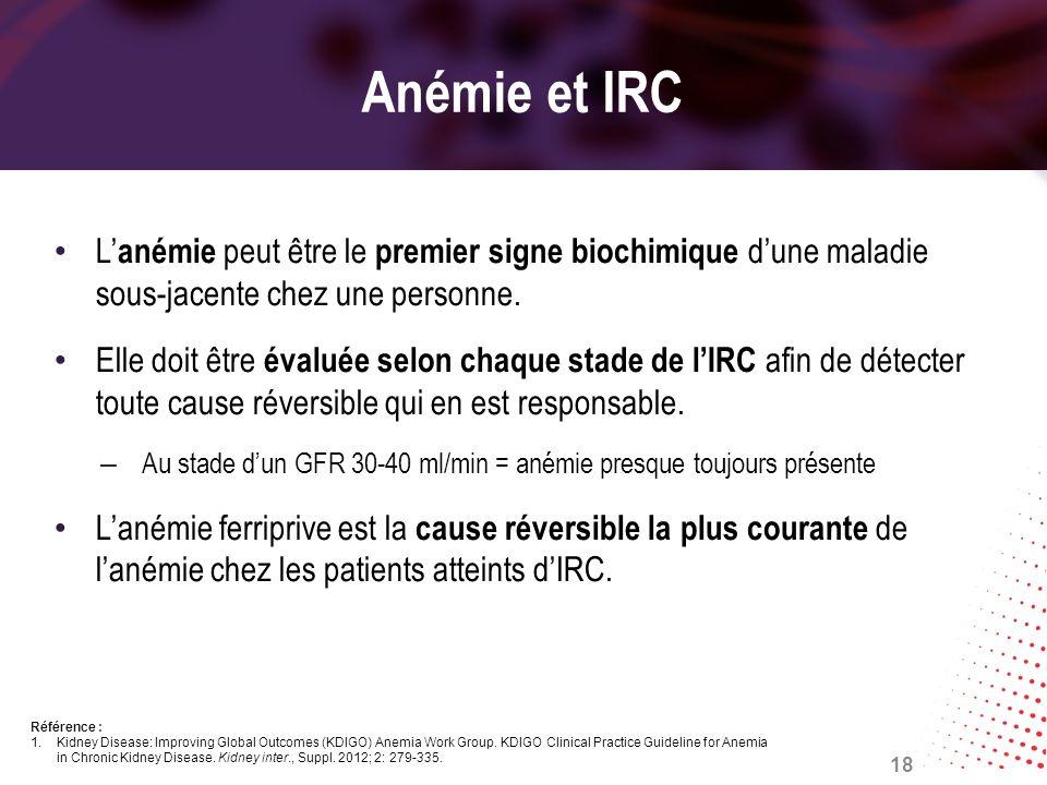 Anémie et IRC L anémie peut être le premier signe biochimique dune maladie sous-jacente chez une personne. Elle doit être évaluée selon chaque stade d