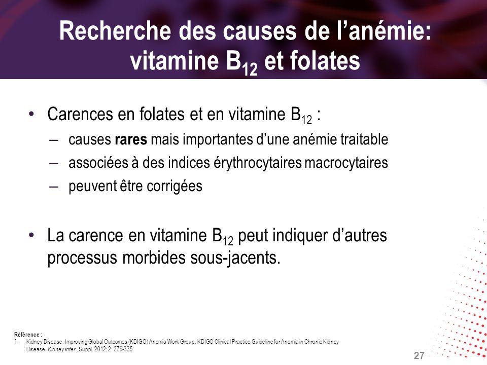Recherche des causes de lanémie: vitamine B 12 et folates Carences en folates et en vitamine B 12 : – causes rares mais importantes dune anémie traita
