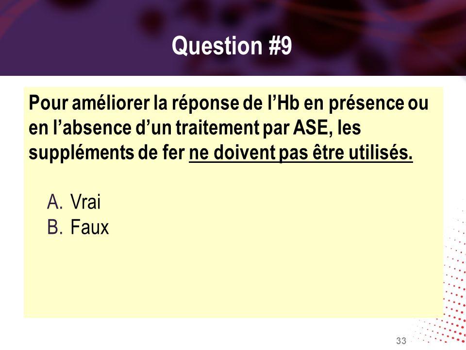 Question #9 Pour améliorer la réponse de lHb en présence ou en labsence dun traitement par ASE, les suppléments de fer ne doivent pas être utilisés. A