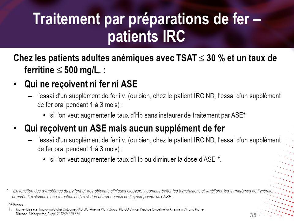 Traitement par préparations de fer – patients IRC Chez les patients adultes anémiques avec TSAT 30 % et un taux de ferritine 500 mg/L. : Qui ne reçoiv