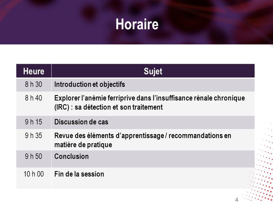 Horaire HeureSujet 8 h 30 Introduction et objectifs 8 h 40 Explorer lanémie ferriprive dans linsuffisance rénale chronique (IRC) : sa détection et son