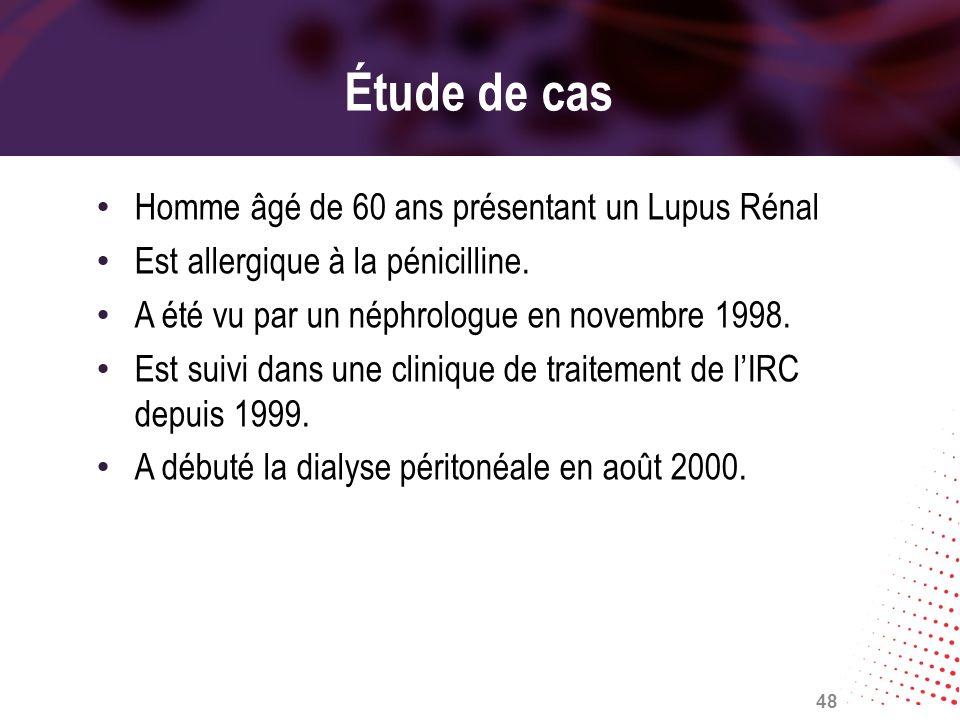 Étude de cas Homme âgé de 60 ans présentant un Lupus Rénal Est allergique à la pénicilline. A été vu par un néphrologue en novembre 1998. Est suivi da