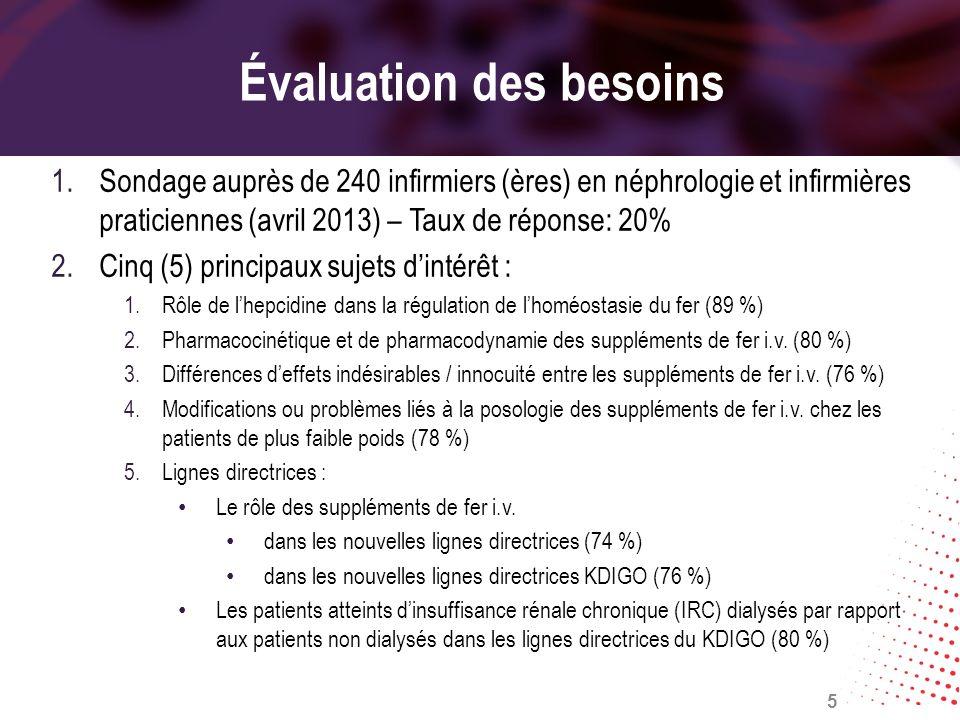 Évaluation des besoins 1.Sondage auprès de 240 infirmiers (ères) en néphrologie et infirmières praticiennes (avril 2013) – Taux de réponse: 20% 2.Cinq